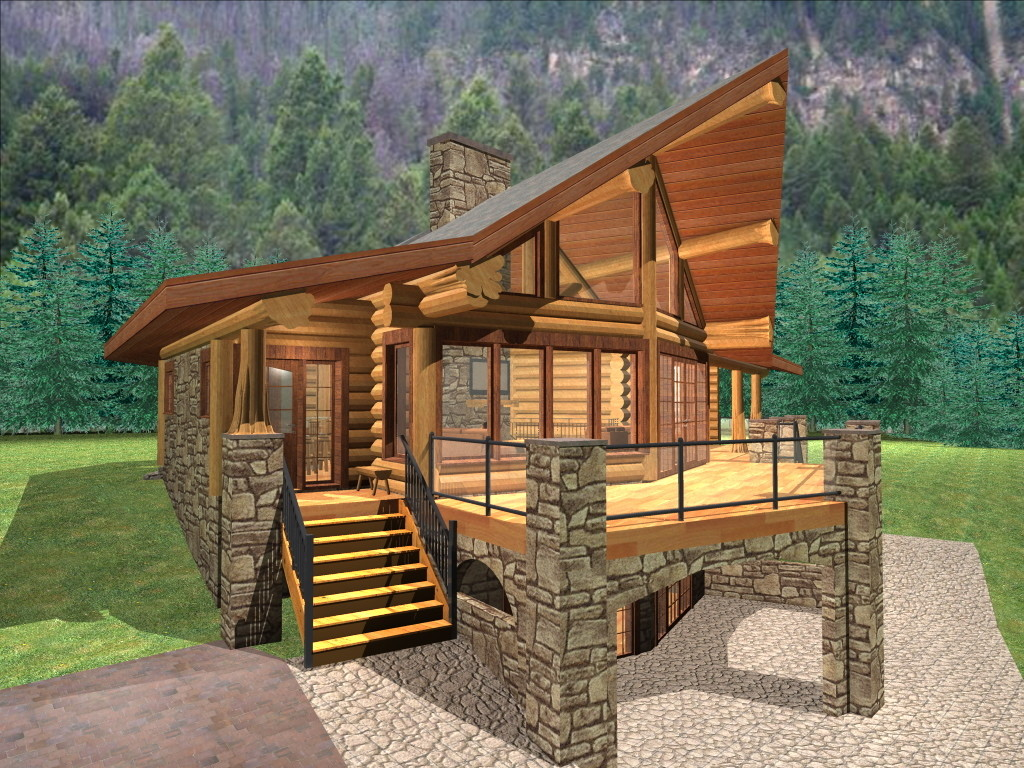 Malta 1299 sq ft log home kit log cabin kit mountain ridge for Large cabin kits