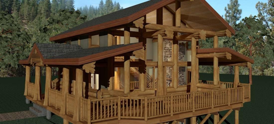 Mountain ridge 1054 sq ft log home kit log cabin kits for Mountain home kits