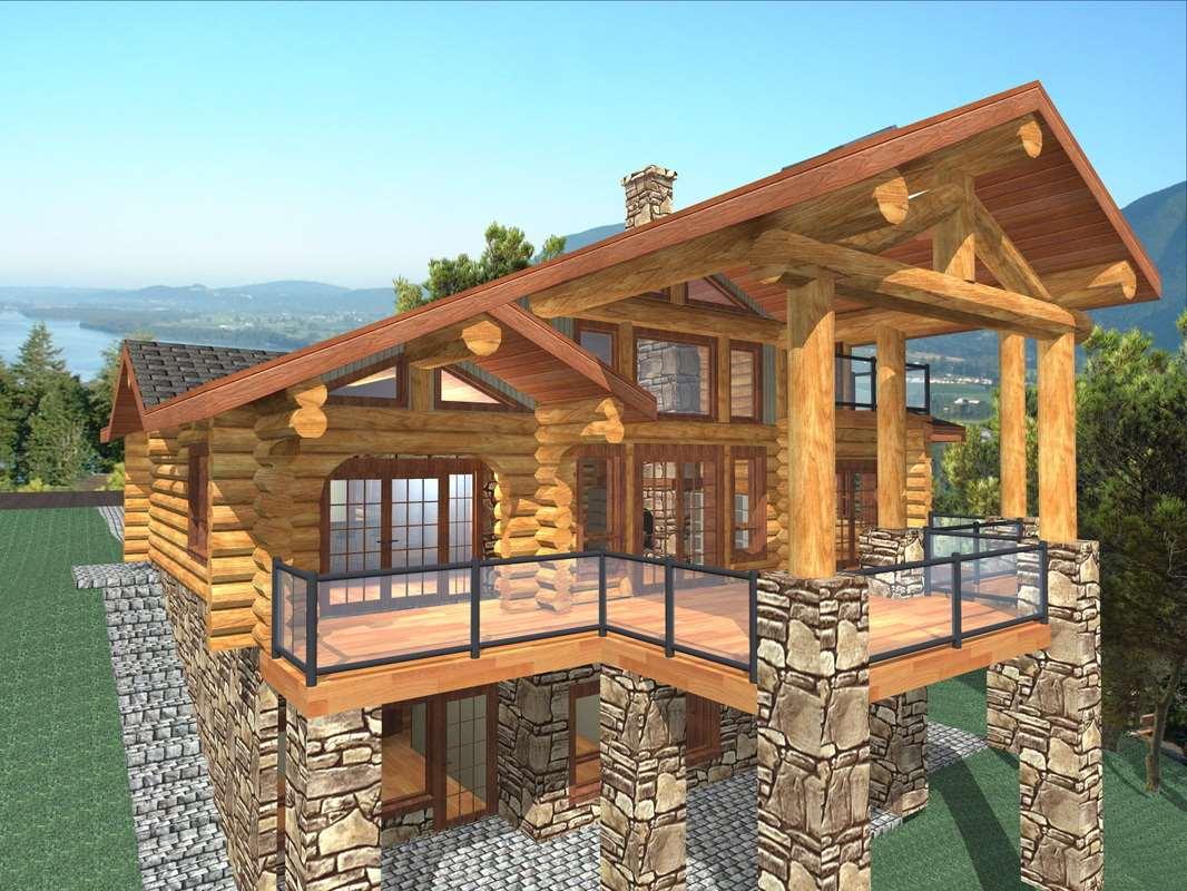 Sun peak 1885 sq ft log home kit log home plans for Mountain home kits