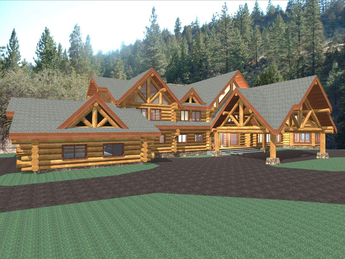 Hawkeye 15281 sq ft luxury log home plans log cabin kit for Luxury log cabin kits