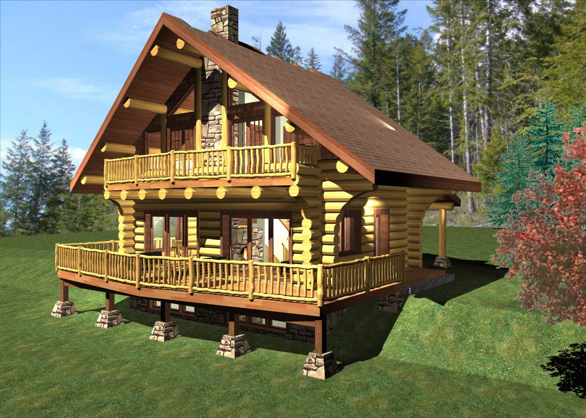 Log chalet 980 sq ft log home kit log cabin kit for Chalet log homes