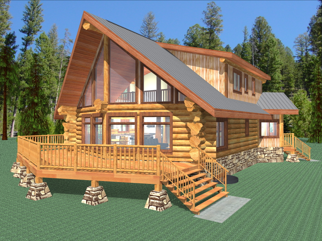 Palmer 2077 sq ft log home kit log cabin kit mountain for Square log cabin plans