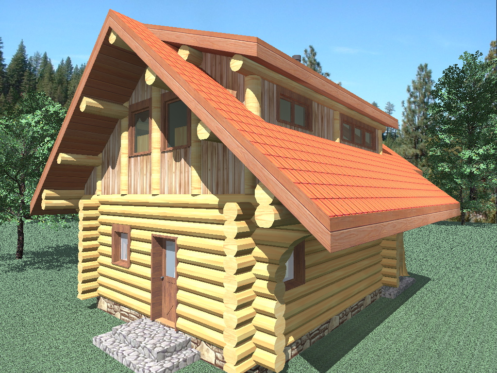 Riverside 833 sq ft log home kit log cabin kit for 2 story log cabin kits