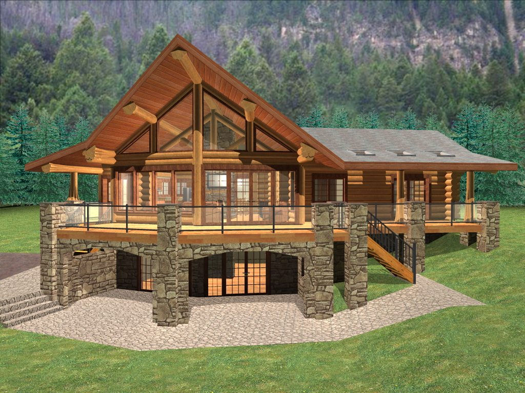 Malta 1299 sq ft log home kit log cabin kit mountain ridge for Log cabin floor plans with walkout basement