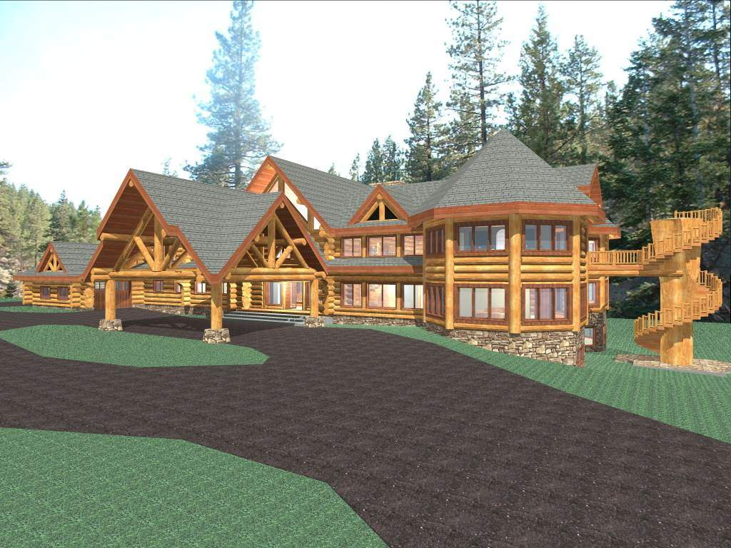 Hawkeye 15281 sq ft luxury log home plans log cabin kit for Luxury mountain home plans